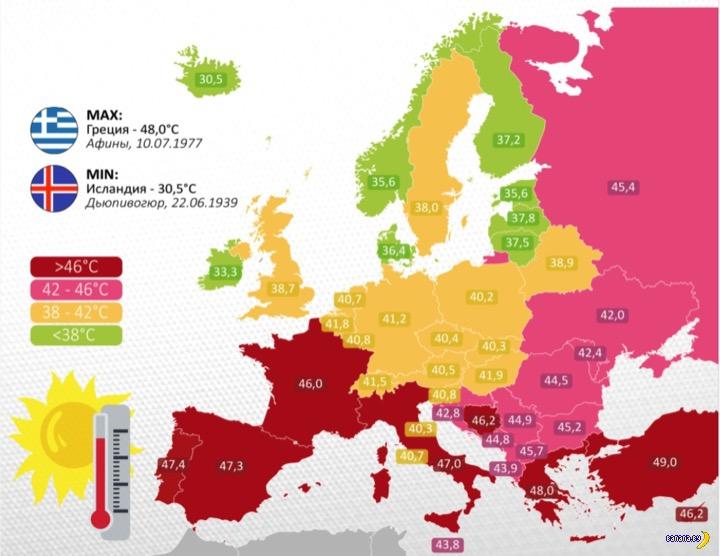 Температурные рекорды в Европе