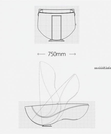 Компактная ванна для небольших ванных комнат (концепт)