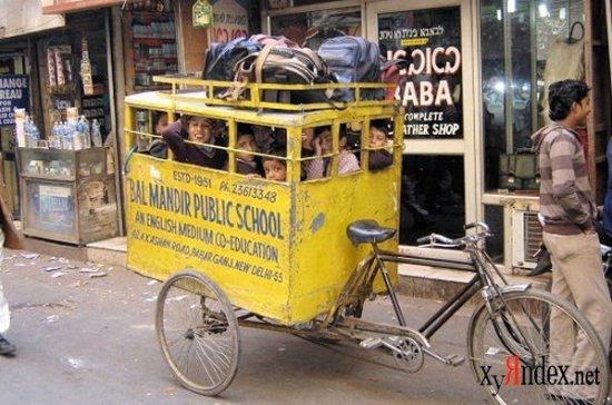 Два обычных школьных автобуса