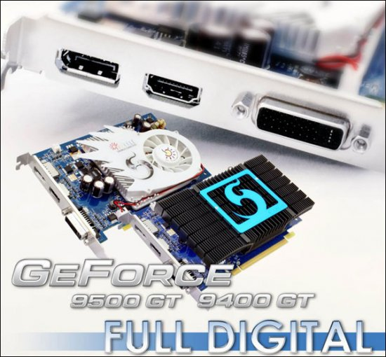 SPARKLE GeForce 9500/9400 GT � HDMI, DVI � DisplayPort