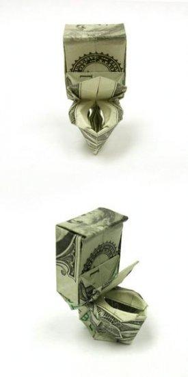 Оригами из купюры в один доллар - манигами Won Park