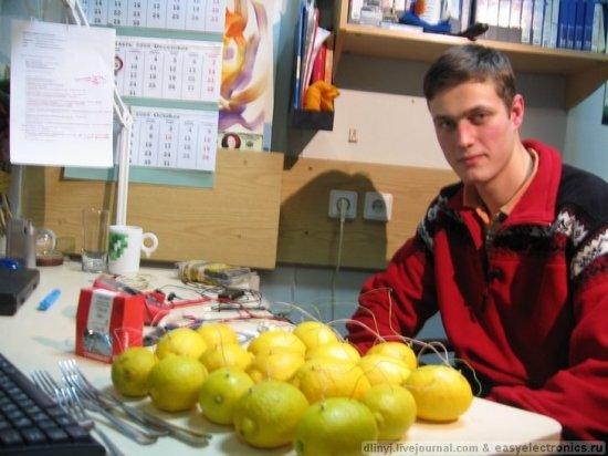 Заряжаем iPod от лимонов